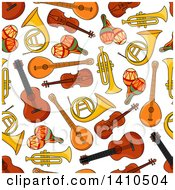 Clipart Of A Seamless Background Pattern Of Musical Instruments Royalty Free Vector Illustration by Vector Tradition SM