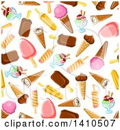 Clipart Of A Seamless Background Pattern Of Frozen Treats Royalty Free Vector Illustration