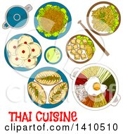 Poster, Art Print Of Sketched Meal Of Thai Cuisine