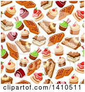 Clipart Of A Seamless Background Pattern Of Desserts Royalty Free Vector Illustration by Vector Tradition SM