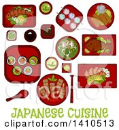 Clipart Of A Sketched Metal Of Japanese Cuisine Royalty Free Vector Illustration