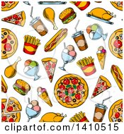 Clipart Of A Seamless Background Pattern Of Sketched Food Royalty Free Vector Illustration by Vector Tradition SM