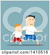 Clipart Of A Flat Design Caucasian Father And Son Running On Blue Royalty Free Vector Illustration by Vector Tradition SM