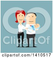 Clipart Of A Flat Design Caucasian Couple With Their Baby On Blue Royalty Free Vector Illustration by Vector Tradition SM