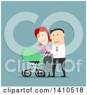 Clipart Of Flat Design Caucasian Parents Walking With Their Baby On Blue Royalty Free Vector Illustration by Vector Tradition SM
