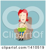 Clipart Of A Flat Design Caucasian Mother Reading A Book To Her Son On Blue Royalty Free Vector Illustration by Vector Tradition SM