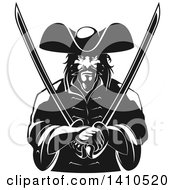Clipart Of A Black And White Tough Pirate Holding Swords In His Crossed Arms Royalty Free Vector Illustration