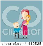 Clipart Of A Flat Design Caucasian Mother And Children On Blue Royalty Free Vector Illustration by Vector Tradition SM