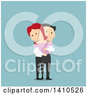 Flat Design Caucasian Couple Hugging On Blue