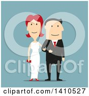 Clipart Of A Flat Design Caucasian Wedding Couple On Blue Royalty Free Vector Illustration by Vector Tradition SM