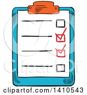 Clipart Of A Sketched Check List Royalty Free Vector Illustration by Vector Tradition SM