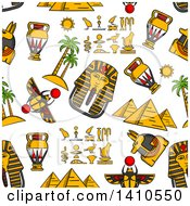 Clipart Of A Seamless Background Pattern Of Ancient Egyptian Icons Royalty Free Vector Illustration by Vector Tradition SM