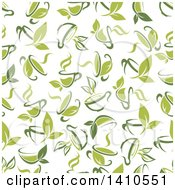 Seamless Background Pattern Of Green Tea Cups And Leaves