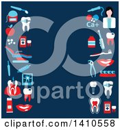 Clipart Of A Flat Design Dental Background With Icons Royalty Free Vector Illustration