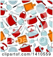 Clipart Of A Seamless Background Pattern Of Pots And Kitchen Items Royalty Free Vector Illustration