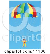 Male Skydiver Descending In A Parachute Aviation Clipart Illustration