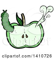 Clipart Of A Cartoon Worm In An Apple Royalty Free Vector Illustration