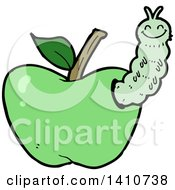 Clipart Of A Cartoon Worm In An Apple Royalty Free Vector Illustration by lineartestpilot
