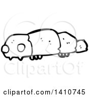 Clipart Of A Cartoon Black And White Lineart Caterpillar Royalty Free Vector Illustration by lineartestpilot