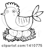 Clipart Of A Cartoon Black And White Lineart Hen Chicken Royalty Free Vector Illustration