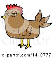 Clipart Of A Cartoon Hen Chicken Royalty Free Vector Illustration