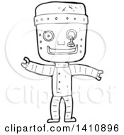 Clipart Of A Cartoon Black And White Lineart Headless Robot Body Royalty Free Vector Illustration