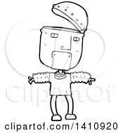 Cartoon Black And White Lineart Robot