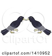 Clipart Of A Cartoon Crow Bird Pair Royalty Free Vector Illustration