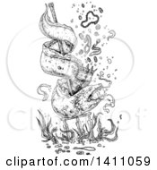 Clipart Of A Black And White Eel Coiled Around A Trident And Wearing A Crown Jewels Falling Down Royalty Free Vector Illustration by lineartestpilot