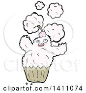 Clipart Of A Cartoon Alien Cupcake Royalty Free Vector Illustration by lineartestpilot