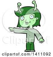 Clipart Of A Cartoon Alien Girl Royalty Free Vector Illustration by lineartestpilot