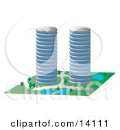 Two Circular Buildings With Ponds Clipart Illustration