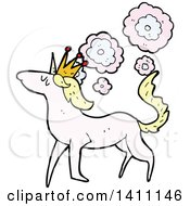 Clipart Of A Cartoon Unicorn Horse Royalty Free Vector Illustration
