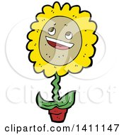 Clipart Of A Happy Potted Sunflower Royalty Free Vector Illustration by lineartestpilot
