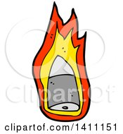 Clipart Of A Flaming Bullet Royalty Free Vector Illustration