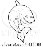 Black And White Lineart Shark