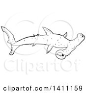 Clipart Of A Black And White Lineart Hammerhead Shark Royalty Free Vector Illustration