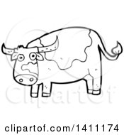 Cartoon Black And White Lineart Cow Bull