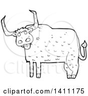 Clipart Of A Cartoon Black And White Lineart Cow Bull Royalty Free Vector Illustration by lineartestpilot