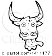 Clipart Of A Cartoon Black And White Lineart Licking Cow Bull Royalty Free Vector Illustration by lineartestpilot