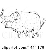 Clipart Of A Cartoon Black And White Lineart Long Haired Cow Bull Royalty Free Vector Illustration by lineartestpilot