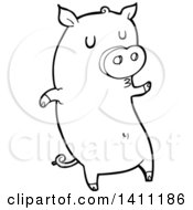 Cartoon Black And White Lineart Pig