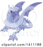 Clipart Of A Mad Purple Dragon Royalty Free Vector Illustration by Pushkin