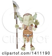 Clipart Of A Cute Goblin Gesturing And Holding A Weapon Royalty Free Vector Illustration by Pushkin