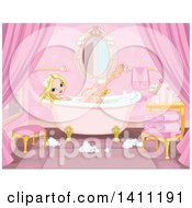 Blond Caucasian Princess Washing With A Sponge In A Bubble Bath