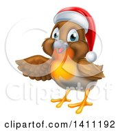 Clipart Of A Presenting Cheerful Christmas Robin In A Santa Hat Royalty Free Vector Illustration by AtStockIllustration