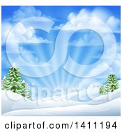 Clipart Of A Winter Morning Sunrise With Rays And A Blue Cloudy Sky Over Snow Covered Hills And Evergreen Trees Royalty Free Vector Illustration