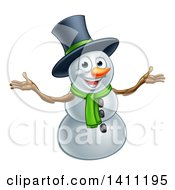 Christmas Snowman Wearing A Green Scarf And A Top Hat