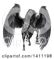 Clipart Of A Majestic Winged Black Horse Pegasus Flying Forward Royalty Free Vector Illustration