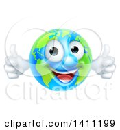 Clipart Of A Happy Earth Mascot Giving Two Thumbs Up Royalty Free Vector Illustration